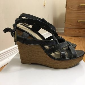 Black Strappy Aldo Wedges